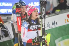 Śnieżny królowej trofeum 2019 dam slalomu ceremonia wręczenia nagród zdjęcie royalty free