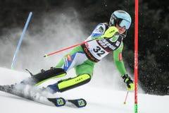 Śnieżny królowej trofeum 2019 - damy Slalomowe obrazy stock