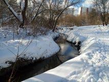 Śnieżny krajobraz nonfreezing Ramenka rzeka w zima wieczór moscow Rosja Obrazy Royalty Free