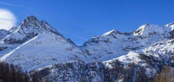 Śnieżny krajobraz w Gressoney Zdjęcia Stock
