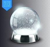 Śnieżny kula ziemska szablon pusty na przejrzystym tle Bożenarodzeniowa magiczna piłka Realistyczna Xmas snowglobe wektoru ilustr ilustracji