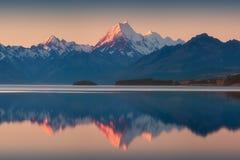 Śnieżny pasmo górskie odbijał w wciąż wodnym Jeziorny Pukaki, góra Cook, Południowa wyspa, Nowa Zelandia Turkusowa woda zdjęcia royalty free