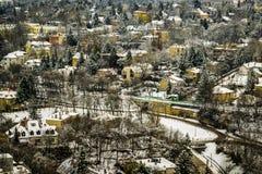 Śnieżny pejzaż miejski Budapest w zimie, odgórny widok obraz royalty free