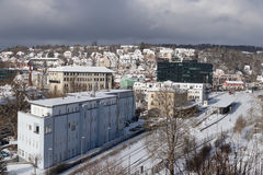 Śnieżny pejzaż miejski Heidenheim dera Brenz w zimie Fotografia Royalty Free