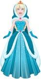 Śnieżny Princess W błękit sukni kapiszonie I pelerynie Zdjęcia Stock
