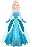 Śnieżny Princess W błękit sukni przodzie Fotografia Royalty Free