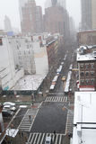 Śnieżny ranek od dachu w NYC Obrazy Stock