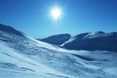 śnieżny słońce Zdjęcia Royalty Free