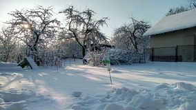 Śnieżny słoneczny dzień Zdjęcia Royalty Free