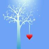 śnieżny serca drzewo Zdjęcie Stock