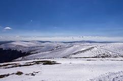 Śnieżny skłon w 3-5 Pigadia narty centrum, Naoussa, Grecja Obrazy Royalty Free