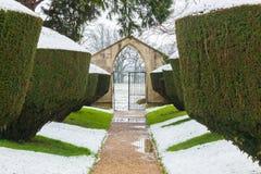 Śnieżny spadek na Cisowych żywopłotach w przy Rousham domem formalnym, historycznym ogródzie, Oxfordshire, Anglia Obrazy Stock