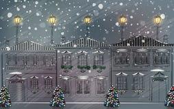 Śnieżny stary miasteczko przy bożymi narodzeniami Obrazy Stock