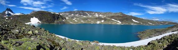 Śnieżny szczyt, skaliści halni szczyty i lodowiec w Norwegia, Zdjęcie Royalty Free
