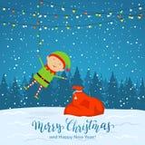 Śnieżny tło z elfem i bożonarodzeniowe światła ilustracja wektor