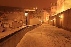 Śnieżny wieczór w zimie Praga, republika czech Obraz Stock