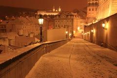 Śnieżny wieczór w zimie Praga, republika czech Obrazy Stock