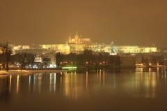 Śnieżny wieczór w zimie Praga, republika czech Zdjęcie Stock