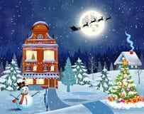 Śnieżny wioska krajobraz Fotografia Stock