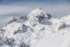 Śnieżny zima krajobraz w Alps w Slovenia obraz royalty free