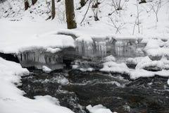 Śnieżny zima krajobraz z rzeką w Lasowej Bieżącej wodzie I Śnieżnym drzewie w tle sopel zdjęcia royalty free