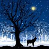 Śnieżny zima lasu krajobraz z deers. Abstrakcjonistyczna ilustracja zima las. ilustracja wektor