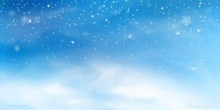 Śnieżny zimy tło Bożenarodzeniowy niebo krajobraz z zimna chmury, miecielicy, stylizujących wewnątrz i zamazujących płatek śniegu ilustracji