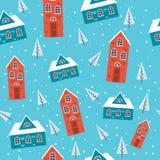 Śnieżnych domów Bezszwowy wzór zdjęcia royalty free