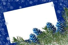 Śnieżysta jodła rozgałęzia się i barwiący rożki na błękitnym backgro ilustracji
