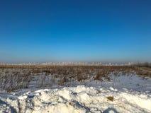 Śnieżysta trawa na polu w pogodnym popołudniu w mrozie obrazy royalty free