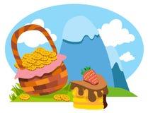 Śnieżyste góry, kosz złociste monety, tort Obrazy Royalty Free
