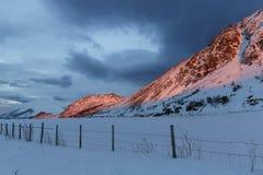Śnieżyste góry w zmierzch łunie Fotografia Royalty Free