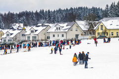 Śnieżysty krajobraz blisko Koenigstein im Taunus Zdjęcie Royalty Free