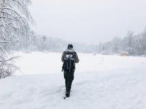 Śnieżysty krajobraz, ja ` s ładny cieszyć się one Fotografia Royalty Free