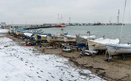 Śnieżysty stary połowu molo w Bułgarskim Pomorie Obraz Royalty Free