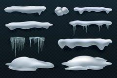 Śniegów sople i nakrętki Snowball i snowdrift zimy wektorowe dekoracje odizolowywać royalty ilustracja