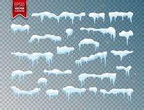 Śnieg, czapa lodowa Opad śniegu z płatek śniegu godziny krajobrazu sezonu zimę Odizolowywający na przejrzystym tle ilustracja wektor