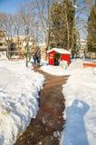Śnieg dryfuje blisko śródmieścia w Pomorie, Bułgaria, zima 2017 Obrazy Stock