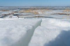Śnieg i kawałki łamany lód na morza bałtyckiego wybrzeżu zdjęcia royalty free