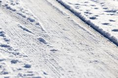 Śnieg i lód na drodze obraz royalty free