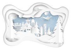 Śnieg i zima przyprawiamy z miastowym krajobrazowym tłem Obraz Stock