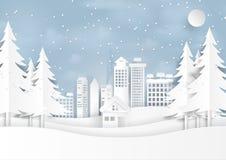 Śnieg i zima sezon z miastową krajobrazu papieru sztuką projektujemy Zdjęcie Stock