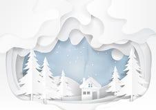 Śnieg i zimy tła papieru sztuka Obrazy Stock