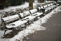 Śnieg na ławkach fotografia royalty free