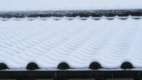 Śnieg na kafelkowym dachu zbiory wideo