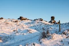 Śnieg na Ramshaw skałach obraz stock