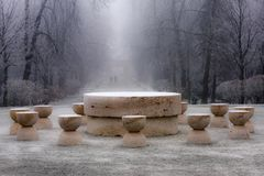Śnieg na stole cisza - arcydzieło Constantin Brancus obraz stock