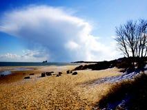 Śnieg na UK plaży Obraz Stock