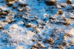 Śnieg na ziemi w promieniach zmierzch jako tło Obrazy Royalty Free