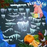 2019 śnieg nakrętki, świnia i Odosobnione śnieg nakrętki ustawiają na menu guzikach i barze Nowy rok dekoraci zestaw dla strony i ilustracji